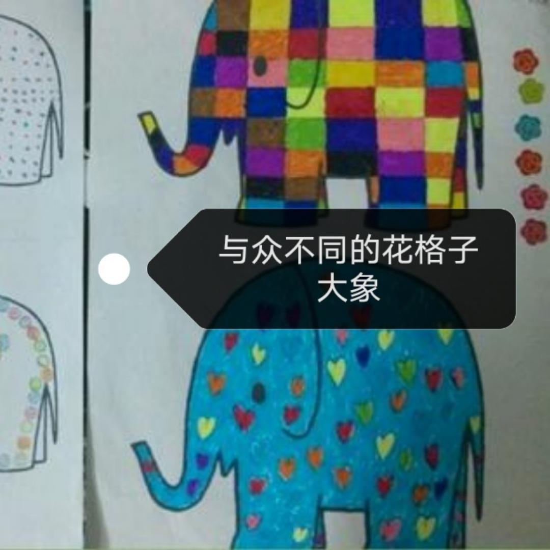 与众不同的花格子大象